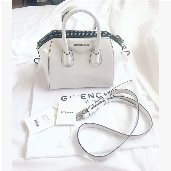 White mini antigona patent leather bag 23ca975994929